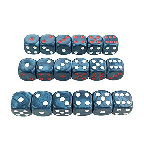 6 pcs. x 3 Bag Acrylic Dice 16 mm Round Corner Marble effect Dice Set Blue Dice Table Games D6 Plastic ()