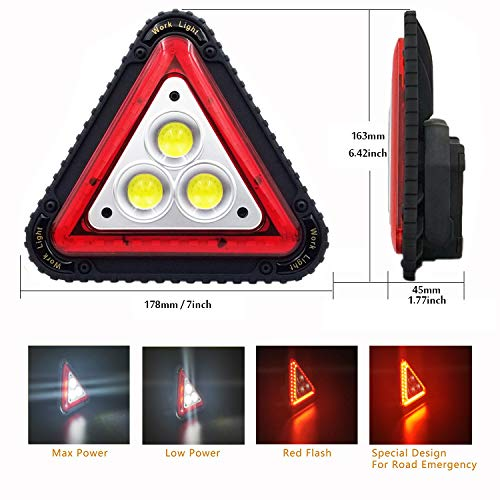 OTYTY 3 COB 30W 1500LM LED Work Light, Rechargeable Portable Waterproof LED  Flood Lights Triangle Warning Light for Outdoor Camping Hiking Emergency