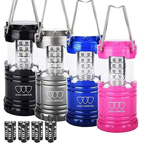 Gold Armour 4 Pack LED Lantern Camping Lanterns - Camping Equipment Camping Gear Camping Lights for Hiking, Emergency, Hurricanes, Outages, Storms, Camping Lanterns (CL11)