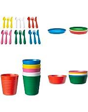 Ikea kalas Posate di plastica per Bambini Set 36 Pezzi - 6 coltelli 6 forchette 6 cucchiai 6 scodelle 6 Piatti e 6 Tazze