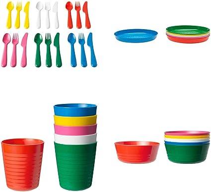 NUOVO Ikea PIC-NIC IN PLASTICA 36 Pezzi Set bambini in plastica Piastre Coppe Ciotole Posate Set