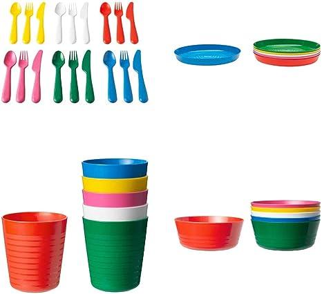 Ikea kalas Posate di plastica per Bambini Set 36 Pezzi 6 coltelli 6 forchette 6 cucchiai 6 scodelle 6 Piatti e 6 Tazze