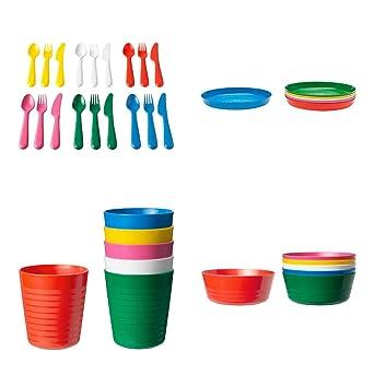IKEA Juego Cubiertos Plástico 36 Piezas Niños KALAS 6 x Cuchillos 6 x Tenedores 6 x Cucharas 6 x Bols 6 x Platos 6 x Tazas