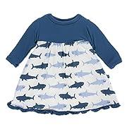 KicKee Pants Little Girls Print Classic Long Sleeve Swing Dress, Natural Megalodon, 12-18 Months