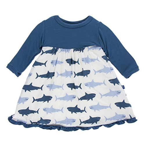 KicKee Pants Little Girls Print Classic Long Sleeve Swing Dress, Natural Megalodon, (Children's Clothing Stores Online)