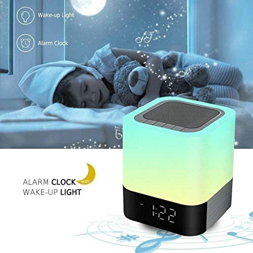 Weite 5-in-1 Wireless Bluetooth V4.0 Portable HiFi Speaker with Dimmable Smart Touch Control Color Changing Night Light, Digital Alarm Clock, MP3 Music Player, Hands Free Call (White) by Weite (Image #3)