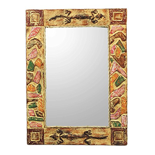 NOVICA Rustic Painted Wood Wall Mounted Rectangular Mirror, African Lizards'