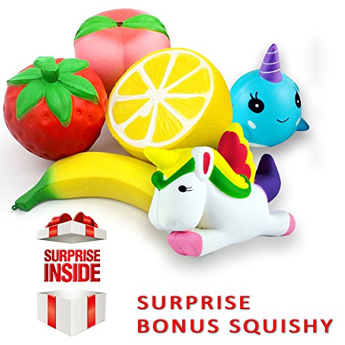 JUMBO SQUISHIES PACK by Lovellio: Prime 6-PACK Slow Rising Cream Scented Kawaii Toys/ Strawberry Peach Banana Lemon Whale & Unicorn Stress Relief Toy Set For Kids & Adults. PLUS A SURPRISE MOCHI BONUS