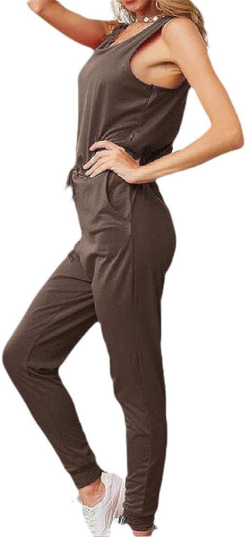 KLJR Women Drawstring Solid Sleeveless Summer Slim Jumpsuit Romper