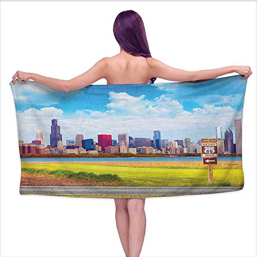Andasrew Bath Towels Set Chicago Skyline,Historical Route 66 Highway Background with Skyscrapers Freedom Picture, Multicolor,W12 xL35 for Baby Girl