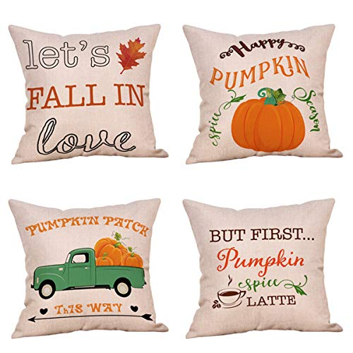 Steven.Smith 4 Pack Let's Fall in Love Quotes Throw Pillow Case Truck with Pumpkins Halloween Thanksgiving Cushion Cover 18 x 18 Inch Cotton Linen Autumn Farmhouse Decor (Fall in Love) for $<!--$13.59-->