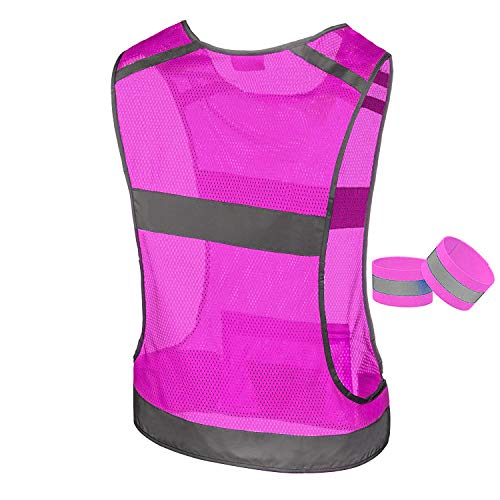 247 Viz Reflective Running Vest Gear | Stay Visible & Safe | Ultra Light & Comfortable Motorcycle Reflective Vest | Large Pocket & Adjustable Waist | Safety Vest | Free Bands (Pink, Medium) by 247 Viz (Image #2)