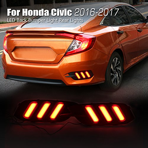 Allinoneparts Honda Civic 10th 2016 2017 LED Back Bumper Light Rear Lights Lamp Kit (not fit the Hatchback)