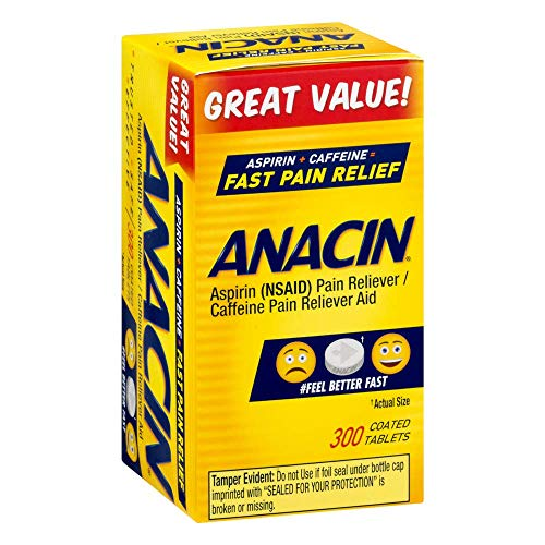 (Anacin Fast Pain Relief Pain Reducer Aspirin Tablets, 300 Tablets)