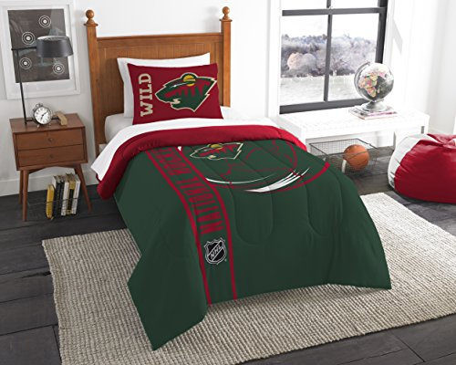 The Northwest Company Officially Licensed NHL Minnesota Wild Draft Twin Comforter and Sham Set, Green/Red ()