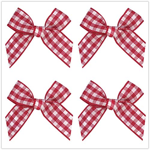 (Gingham Craft Ribbon Bows Mini Checkered Ribbon Flowers Appliques for Sewing, Gift, DIY Craft, Wedding Decoration Ornament (red and White, 48PCS))