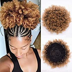 BEIRA Synthetic Afro Puff Drawstring Ponytail Short Kinky Curly Hair Bun Extension Donut Chignon Hairpieces Wig Updo Hair Extensions with Two Clips(1b/27#)