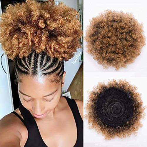 - BEIRA Synthetic Afro Puff Drawstring Ponytail Short Kinky Curly Hair Bun Extension Donut Chignon Hairpieces Wig Updo Hair Extensions with Two Clips(1b/27#)