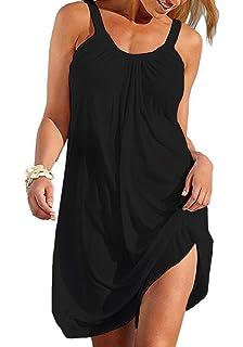 6b2d392215 Sierry Women Summer Beach Casual Relaxed Sleeveless Dress Mini Loose Skirt  Sundress Beach Wear