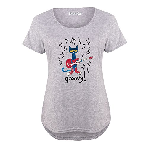 Pete the Cat Guitar Groovy - Ladies Plus Size Scoop Neck Tee Athletic Heather (Pete The Cat T Shirts For Adults)
