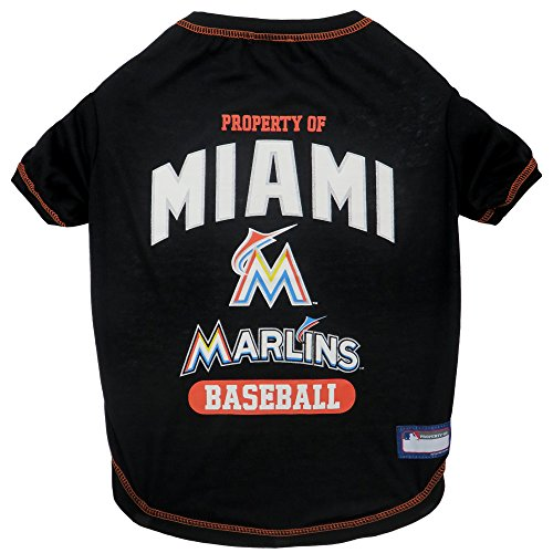 MLB Miami Marlins Dog T-Shirt, X-Small. - Licensed Shirt for Pets Team Colored with Team Logos -