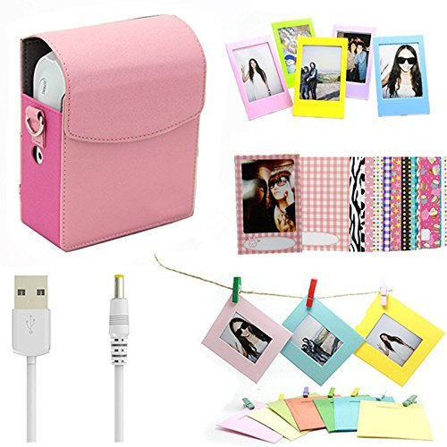 Darkhorse 5 In 1 Accessories Bundle Set Pink Instant Film Printer Sp 1 Case  Usb Power Cable  Wall Hanging Frames   Films Frame   Film Stickers  For Fujifilm Instax Share Sp 1 Smartphone Printer