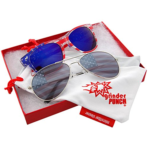grinderPUNCH American Flag Sunglasses Blue and Aviator 2 Pack Red Gift - B&q Sunglasses