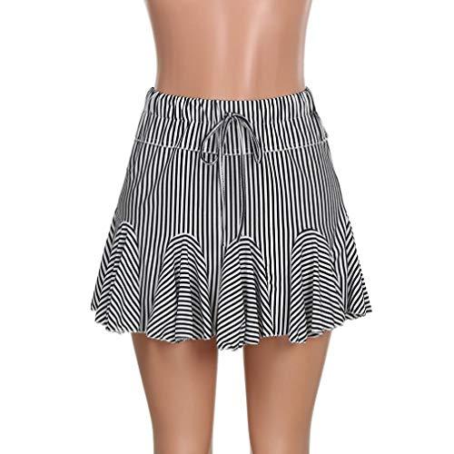 Jupes Haute Ray Patineuse Taille Elastique Jupe plisse Cocktail Pliss Mini Casual Sixcup Femme Court Jupe Noir 0YHwawx