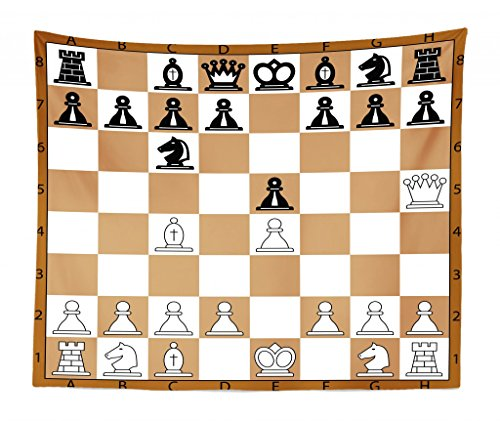 Lunarable Board Game Tapestry King Size, Opening Position on Chessboard Letters Numbers Squares Pieces Print, Wall Hanging Bedspread Bed Cover Wall Decor, 104 W X 88 L Inches, Brown Pale Brown Black