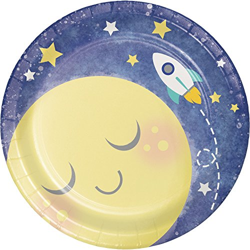 Creative Converting 321806 96 Count Sturdy Style Dessert Plates, To the Moon and -