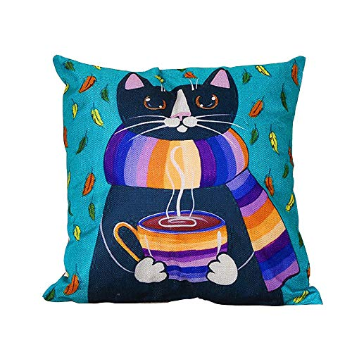 Price comparison product image Throw Pillow Cover Decorative Durable Cushion Cover 18x18 Cute Cat Wears Colorful Scarf Drinking Hot Coffee Blue Navy Pillow Case Hidden Zipper Home Decor Winter Sofa Couch Bedroom Living Room