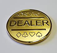 Gold Plated Metal Dealer Button for Poker Games Such as Texas Hold