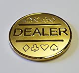 Gold Plated Metal Dealer Button Poker Games Such as Texas Hold'em