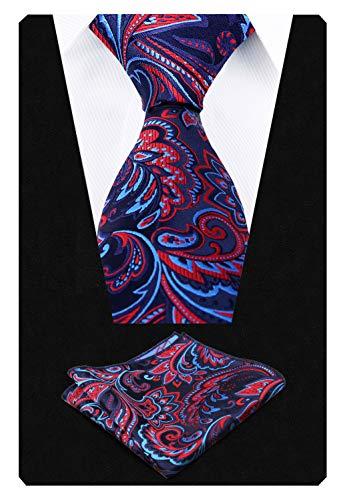 Cravate lot Alizeal bleu Marine paisley Pochette Bleu homme De rouge Og5O4qxwt