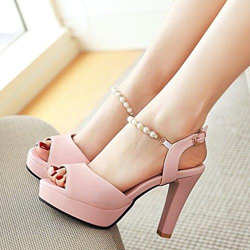 open dolce scarpe nuova bocca YMFIE moda donna da toe C Estate tacchi perline tacco pesce alti alto sandali 7t7w8pq