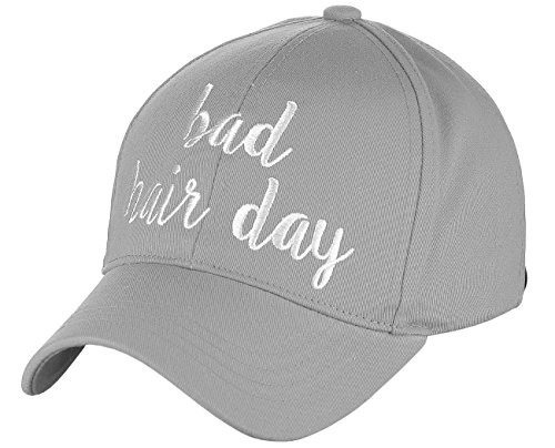 (C.C Women's Embroidered Quote Adjustable Cotton Baseball Cap, Bad Hair Day, Gray)