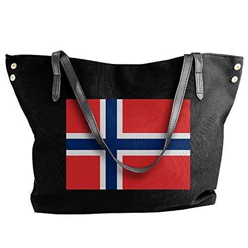 Capacity Handbag Women's Bags Large Flag Norwegian Black Canvas Shoulder Large Tote xn17w8q1Ia