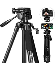 58 inch Camera Tripod, GooFoto 6.6lb/3KG Load Portable Lightweight Aluminum Travel Tripod for Nikon/DSLR/Sony/Canon/iPhone/Phone with Carry Bag & Phone Clip