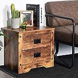 Aingoo Vintage Night Stand 2 Drawer Storage 18.5IN Industrial Sofa End Table Brown Wooden Veneer Print