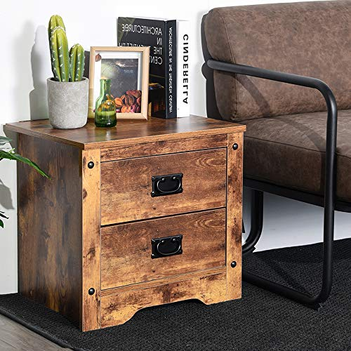 Aingoo Vintage Nightstand Bedside Table 2 Drawer Storage 18.5IN Industrial Sofa End Table Brown Wooden Veneer Print Accent Table ()