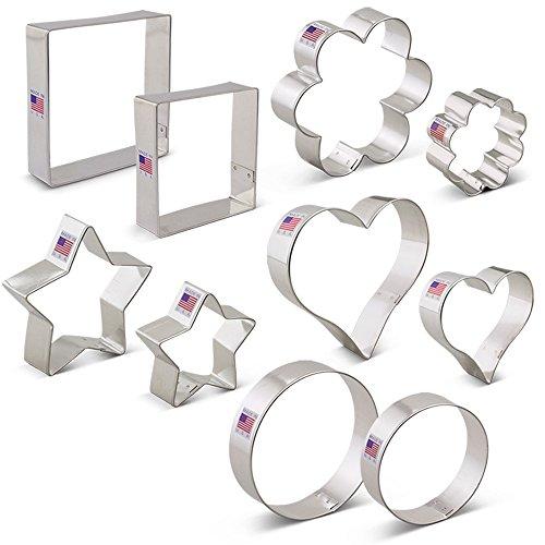 Basic Cookie Cutters Set - 10 piece - Ann Clark - Tin Plated Steel