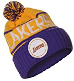 Mitchell & Ness NBA Los Angeles Lakers High 5Pom Pom–Gorro Cuff Knit