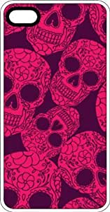 Pink Sugar Skulls White Plastic Case for Apple iPhone 4 or iPhone 4s