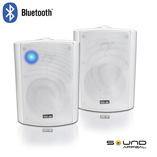 """Bluetooth 5.25"""" Indoor/Outdoor Weatherproof Patio Speakers (White- pair)-by Sound Appeal by Sound Appeal"""