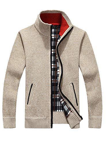 GEEK LIGHTING Men's Zip Up Fleece Hoodies Winter Heavyweight Sherpa Lined Thermal Jackets (Khaki(Knitted Cardigan Sweaters), Medium) ()