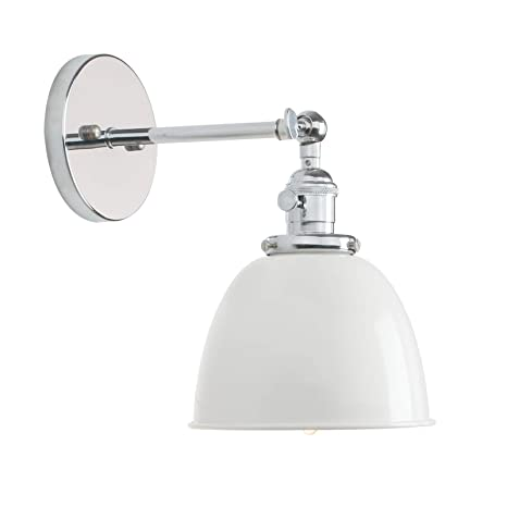 best deals on cac09 9e110 Permo Polished Chrome 6.3-Inch Metal Dome Shade Vintage Industrial Wall  Sconce Lighting Fixture (White)