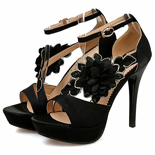COOLCEPT Mujer Western Elegant Tacon Alto Ankle Strap Sandalias With Flor Negro