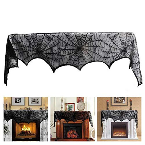 Oun Nana Halloween Fireplace Mantel Black Lace Scarf, Spider Web Cover Festive Party Decorations Supplies 18 x 96 inch