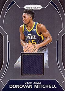 2017-18 Panini Prizm Sensational Swatches Relics #SW-DM Donovan Mitchell Player Worn Jersey Basketball Card from Rookie Season