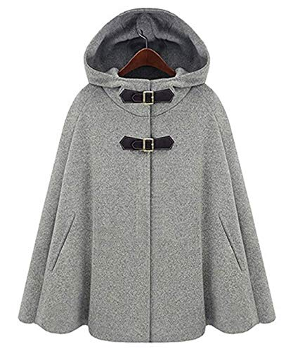 Chartou Women's Cute Batwing-Sleeve Hooded Wool Baggy Poncho Cape Cardigans Outwear (X-Large, Grey)